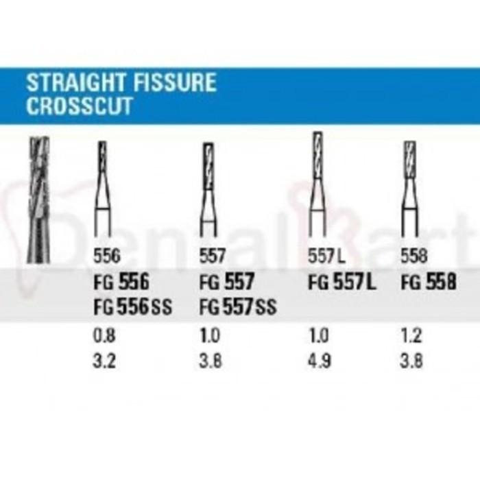 Carbide Bur Straight/Flat End Crosscut Fissure
